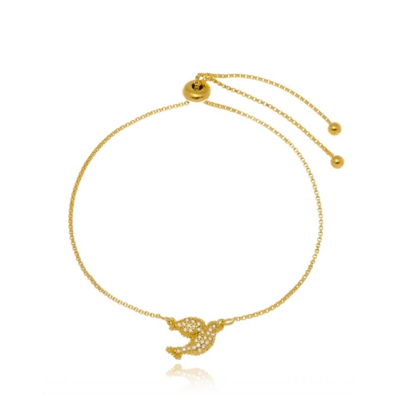 Pulseira de Ouro Feminina com Pingente Salesópolis - Pulseira em Ouro Feminina
