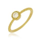 anel folheado a ouro com zircônia