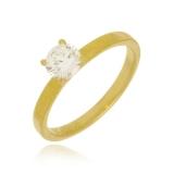 anel solitário folheado a ouro