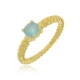 anel folheado pedra azul
