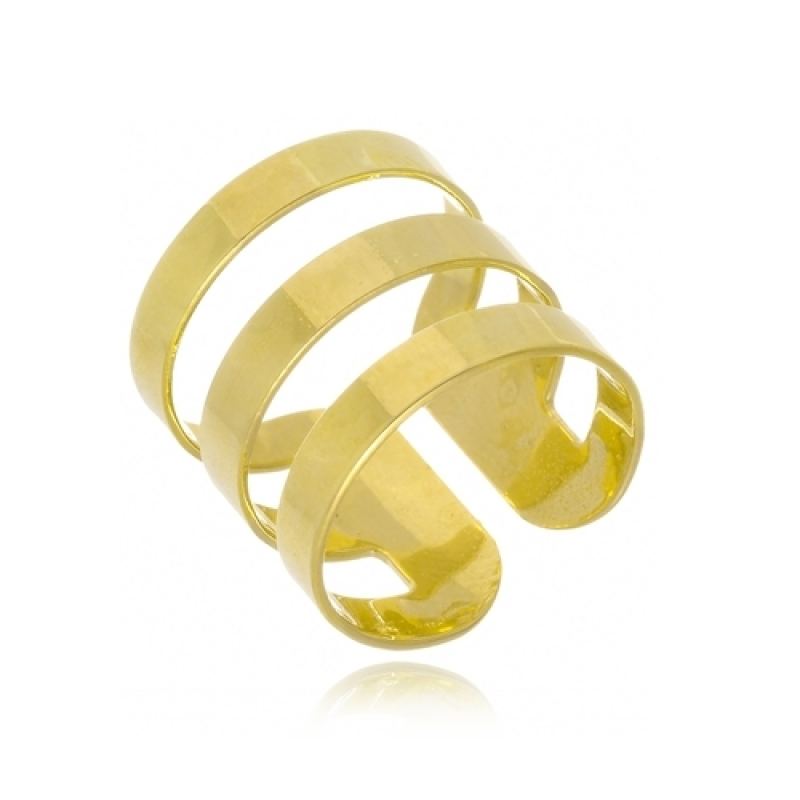 Anéis de Ouro Femininos Vila Matilde - Anel de Ouro com Letra Feminino