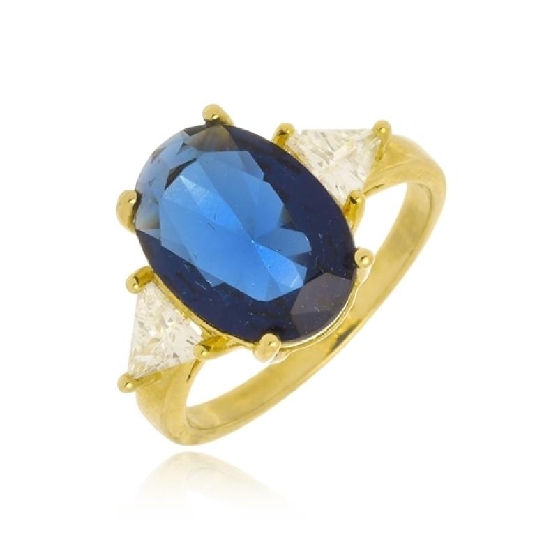 Anéis Folheados Pedra Azul Campo Grande - Anel Falange Folheado