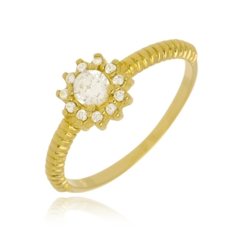 Anel Banhado a Ouro Feminino Cachoeirinha - Anel de Ouro Feminino com Pedra