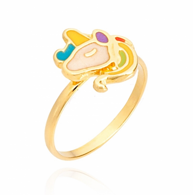 Anel de Ouro de Unicórnio Mandaqui - Anel de Ouro Unicórnio Redondo