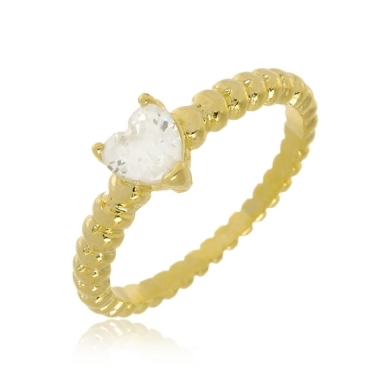 Anel de Ouro Feminino com Pedra Americana - Anel de Ouro Feminino 3 Cores
