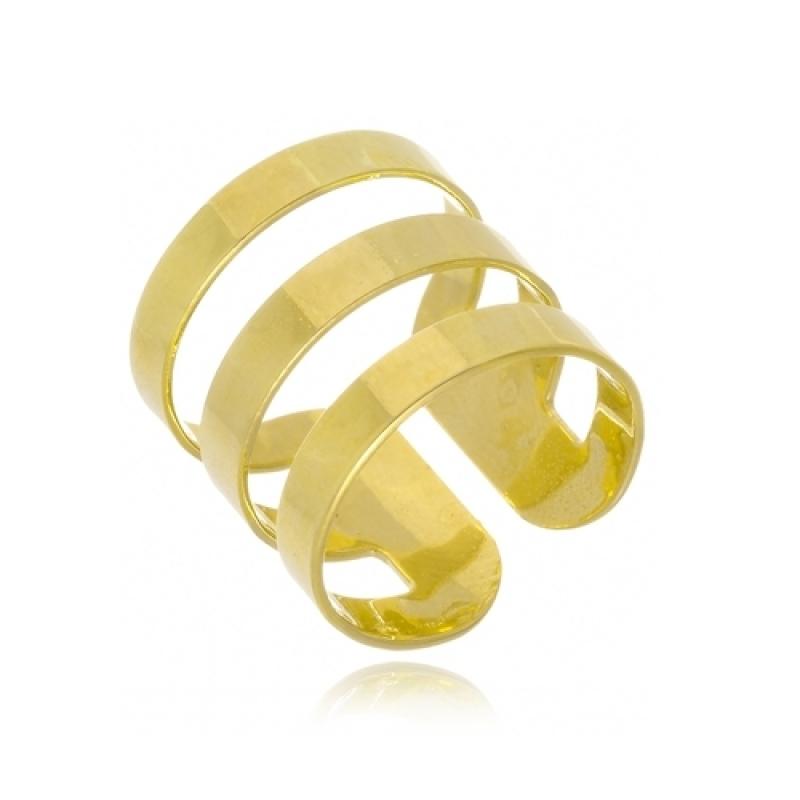 Anel de Ouro Feminino Largo Tatuí - Anel de Ouro Feminino
