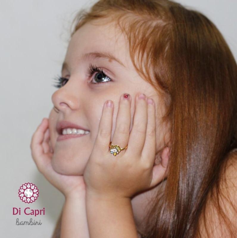 Anel de Ouro Unicórnio Infantil Jardim Leonor - Anel de Ouro de Unicórnio