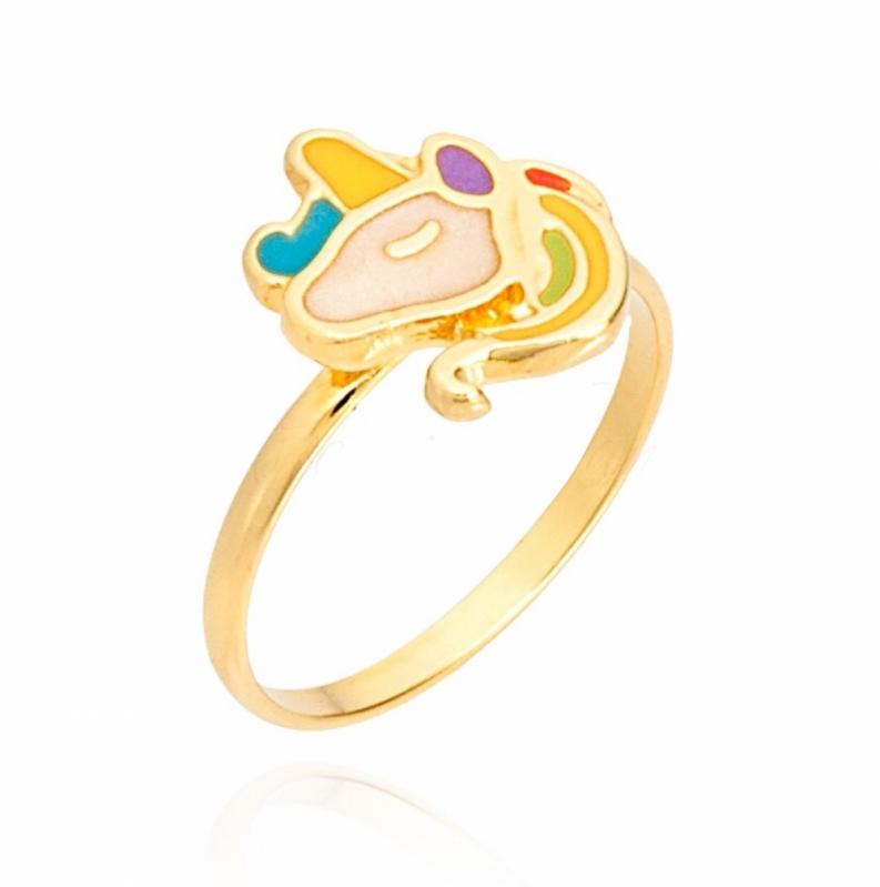 Anel em Ouro de Unicórnio Ibiúna - Anel de Prata com Ouro Unicórnio