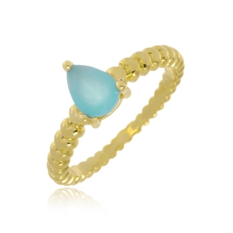 Anel Folheado Pedra Azul Butantã - Anel Falange Folheado