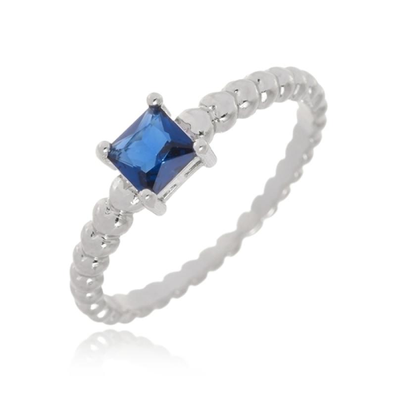 Onde Compro Anel Folheado Pedra Azul Biritiba Mirim - Anel Folheado Prata