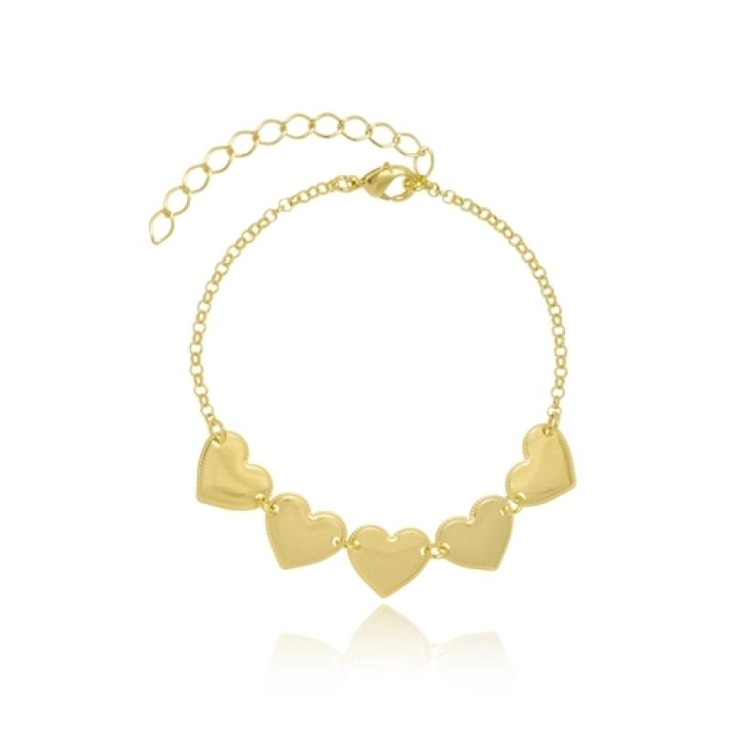 Pulseira Dourada Feminina Melhor Preço Embu - Pulseira Feminina Banhada a Ouro