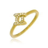 anel de ouro com letra feminino
