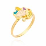 anel de ouro unicórnio redondo Interlagos