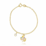 pulseira de ouro infantil unicórnio Heliópolis
